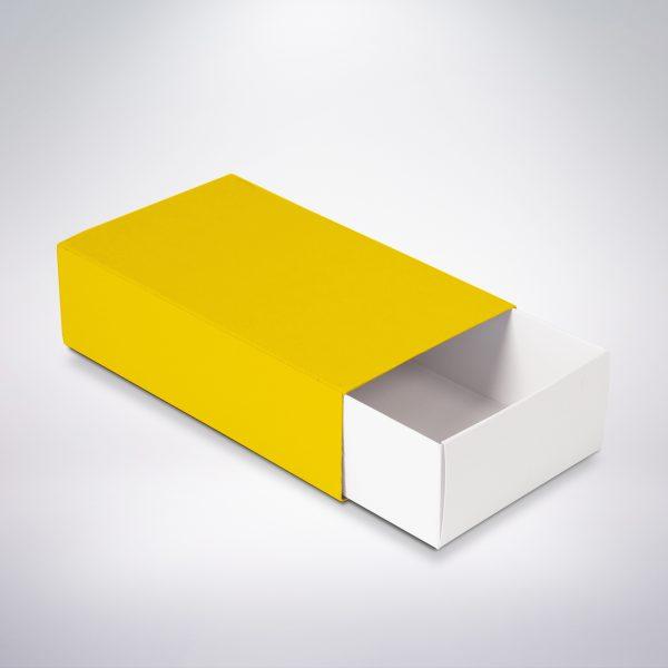 Krabička na makarónky žltá 160x90x45